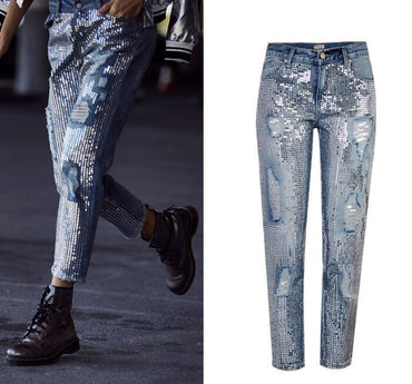 European&American sequins ripped Jeans