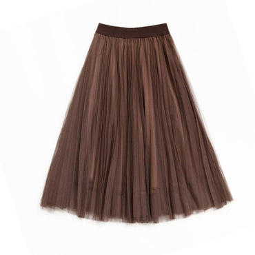 A-line Midi Skirts Elastic High Waist Tutu Pleated Skirts