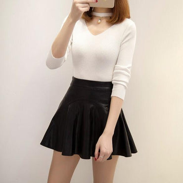 High Waist Pu Leather Skater Mini Skirt