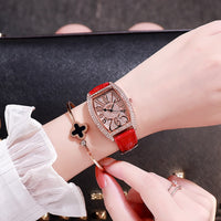 Red Leather Quartz Watches