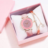 Dress Watch Bracelet Set Luxury Crystal Pink Leather Watch