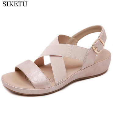 Gladiator Open Toe Buckle Wedge Flats Shoes