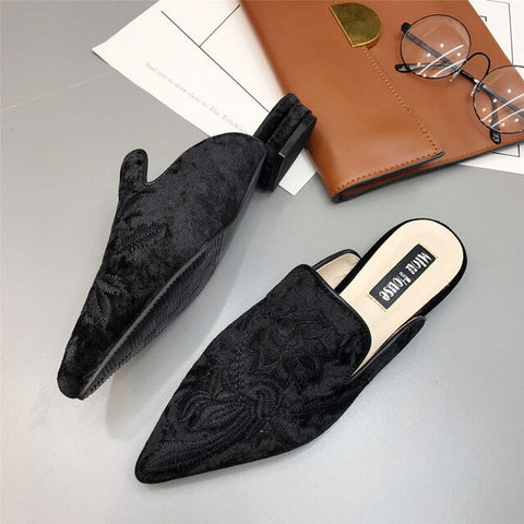 Pointed Toe Flock Flat Embroider Floral Loafers Flats Shoes