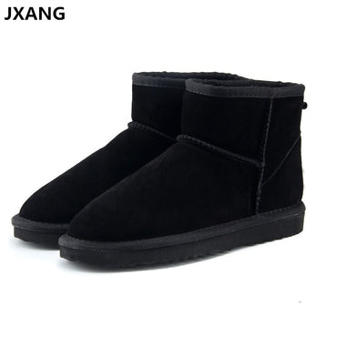 Snow Boots Cow Split Leather Ankle Flats Shoes