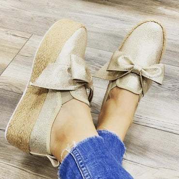 bow espadrille shoes loafers Flats Shoes