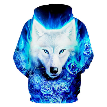 3D Tracksuit Blue Rose White Wolf Hoodie