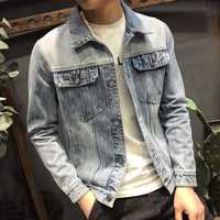 style loose lapel light blue denim jacket