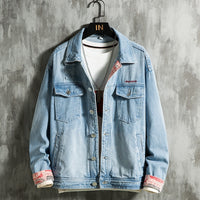 collar large size loose denim jacket