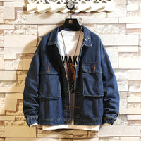 lapel loose loose denim couple jacket overalls denim jacket
