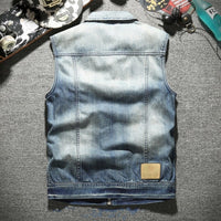 Biker Motorcycle Sleeveless Denim Jacket