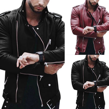 Zipper Leather Motorcycle Faux Jackets & Coats
