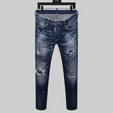 Slim jeans denim trousers blue hole Pants jeans