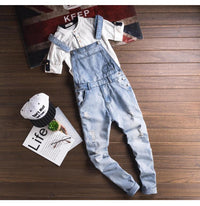 light blue slim snow washed denim bib overalls Casual hole ripped suspenders jumpsuits Cargo torn jeans