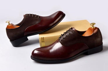 Stitching handmade formal dress shoes pointed toe lace-up Oxford Shoes