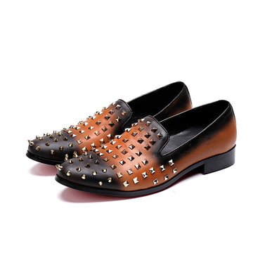 Genuine leather Orange rivets dress Oxford Shoes