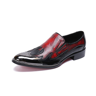 Mixed Colors  business dress shoes slip-on pointed toe carved Bullock Oxford Shoes