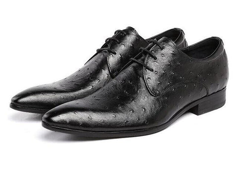 Pointed Toe Lace Up Genuine Leather Oxfords Shoes