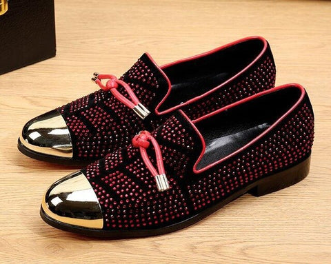 Red Crystal Handmade  Loafers Oxford Shoes