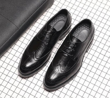 Genuine leather pointed toe Breathable Bullock  handmade Oxford Shoes