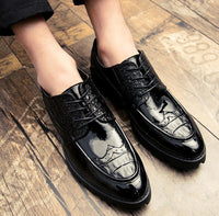 height increasing leather formal brogue platform oxford shoes