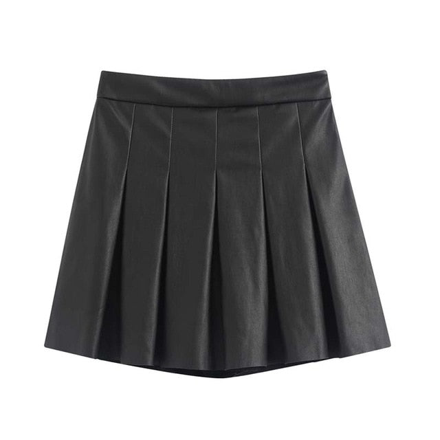 PU leather pleated skirts
