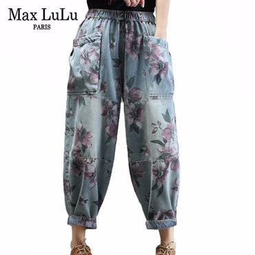 Chinese Style Harem Floral Printed Jeans