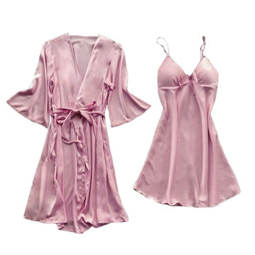 Lace Silk Lingerie Nightdress Sleep Lounge Robe Pajamas Bathrobe Sleepwear