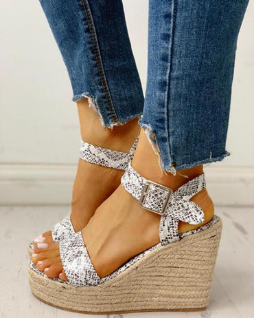 Peep Toe High Wedges Ankle Buckles Sandals