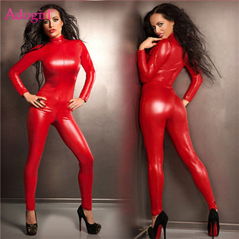 Red PU Leather Jumpsuit
