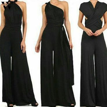 Elegant Sleeveless Long Pant adjustable black Jumpsuits