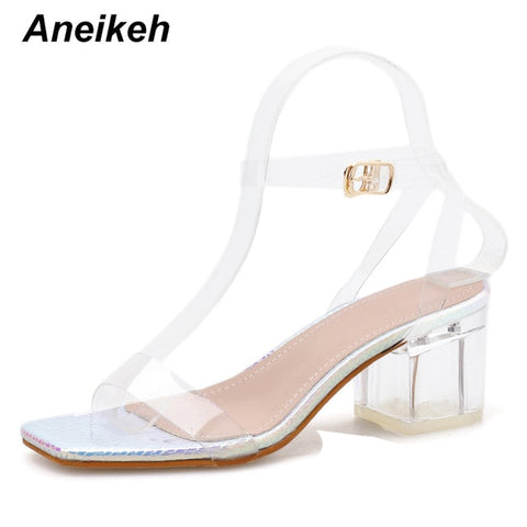 Serpentine Sequins Clear PVC Transparent Sandals