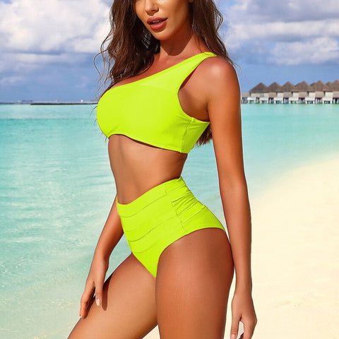 Sexy Mesh Swimsuit Push Up Swimwear Solid High Waist Bikini