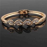 Yellow Gold-color Clear Austrian Crystal Bracelet & Bangle
