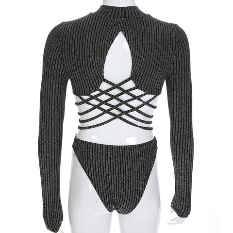 Silver/Golden Striped Glitter Bodysuit