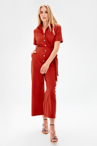 Tile Lacing Belted Jumpsuit