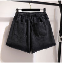 large loose casual elastic waist pocket hole jeans denim shorts