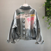 Print Vintage Frayed Hole Denim Jacket