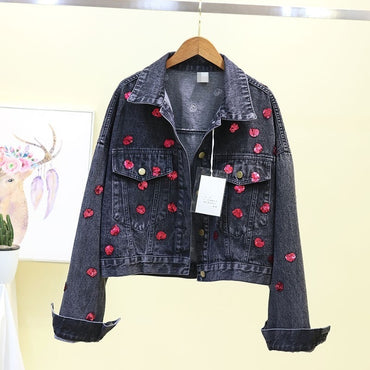 Popular Single Breasted Red Love Sequins Casual Loose Short Denim Jacket