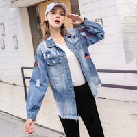 Flower Embroidery Loose Denim Jacket
