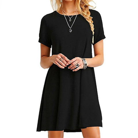 Short sleeve O-neck casual loose Dress
