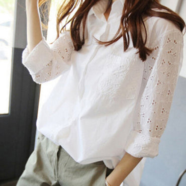 Lapel Long Sleeve Lace Pure Color V-neck Blouse
