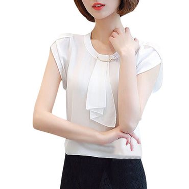 Solid Color Chiffon  Short Sleeve Blouse