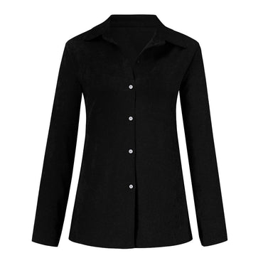 Casual Solid Long Sleeve Shirt Turn-Down Collar Button Pocket Blouse