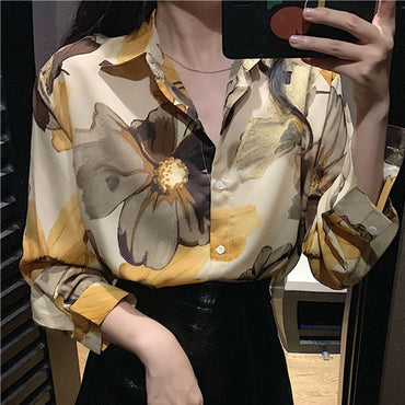 Floral Print Long Sleeve Sleeve Blouse