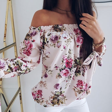 long sleeve printing fashion shoulder blouse