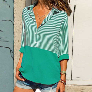 Long Sleeve Striped Patchwork V Neck Turn Down Collar Button Shirts Loose Casual Blouses