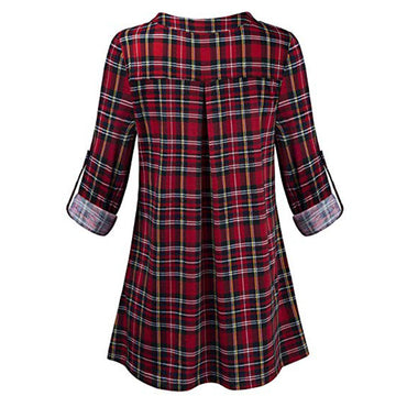 Rolled Sleeve Zipped V-neck Plaid Printed Shirt Tunic Tops Blouse