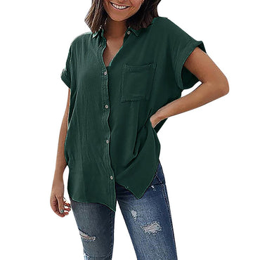 Lapel Pure Color Short Sleeve Pocket Blouse