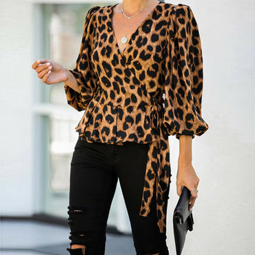 V-Neck 3/4 Sleeve Shirt Office Pullover  Blouse