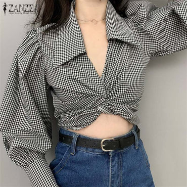 Sexy Tunic Check Club Streetwear Crop Tops
